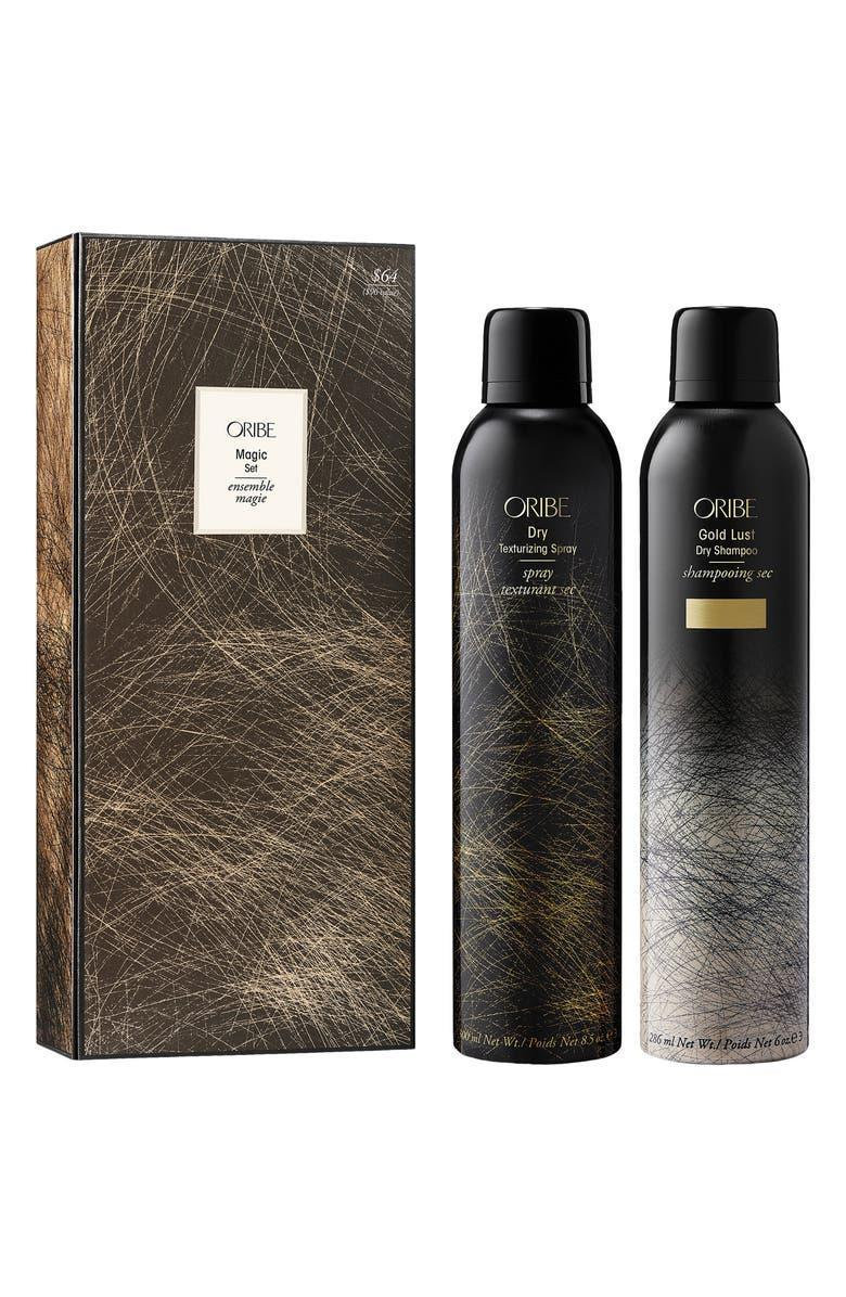 """<strong><h2>Oribe Magic Duo Dry Shampoo & Dry Texturizing Spray Set</h2></strong><br><strong>SOLD OUT (FOR NOW)</strong><br>R29 readers and editors alike are loving this Oribe set. Unfortunately for us, it's currently sold out. But if you still need your quick-hair-fix, our next best deal on the next slide is Briogeo's healthy hair set.<br><br><em>Shop more <a href=""""https://go.skimresources.com/?id=30283X879131&xs=1&url=https%3A%2F%2Fwww.nordstrom.com%2Fbrowse%2Fanniversary-sale%2Fall%3Fcampaign%3D0728publicgnpt1%26jid%3Dj012165-15573%26cid%3D00000%26cm_sp%3Dmerch-_-anniversary_15573_j012165-_-catpromo_corp_persnav_shop%26%3D%26postalCodeAvailability%3D10543%26filterByProductType%3Dbeauty-grooming_beauty-supplements%26filterByProductType%3Dbeauty-grooming_eye-makeup%26filterByProductType%3Dbeauty-grooming_face-makeup%26filterByProductType%3Dbeauty-grooming_fragrance%26filterByProductType%3Dbeauty-grooming_hair-styling-products%26filterByProductType%3Dbeauty-grooming_hair-tools%26filterByProductType%3Dbeauty-grooming_hair-treatments%26filterByProductType%3Dbeauty-grooming_hygiene-products%26filterByProductType%3Dbeauty-grooming_lip-makeup%26filterByProductType%3Dbeauty-grooming_makeup-tools%26filterByProductType%3Dbeauty-grooming_moisturizers%26filterByProductType%3Dbeauty-grooming_nail-polish%26filterByProductType%3Dbeauty-grooming_shampoo%26filterByProductType%3Dbeauty-grooming_skin-care-tools%26filterByProductType%3Dbeauty-grooming_skin-care-treatments%26filterByProductType%3Dbeauty-grooming_skin-cleansers%26filterByProductType%3Dbeauty-grooming_sunscreen&sref=https%3A%2F%2Fwww.refinery29.com%2Fen-us%2Fnordstrom-anniversary-sale-best-sellers"""" rel=""""nofollow noopener"""" target=""""_blank"""" data-ylk=""""slk:Nordstrom Anniversary Sale beauty"""" class=""""link rapid-noclick-resp"""">Nordstrom Anniversary Sale beauty</a></em><br><br><strong>Oribe</strong> Magic Duo Dry Shampoo & Dry Texturizing Spray Set, $, available at <a href=""""https://go.skimresources.com/?id=30283X879131&url=https%3"""