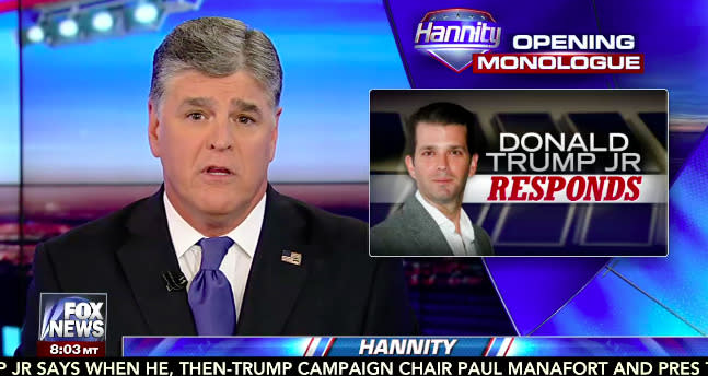 Hannity Opens Trump Jr. Interview With Attack On 'Overpaid, Lazy' Media