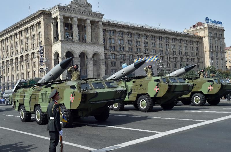 The military displays its medium-range rockets during a 2014 ceremony in Kiev, as lawmakers agree to scrap a post Cold War deal to purchase weapons only produced in Ukraine (AFP Photo/Sergei Supinsky)
