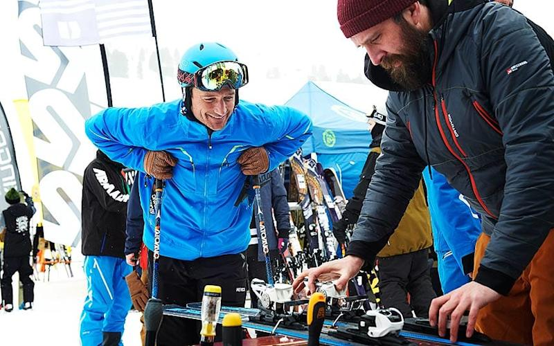 Graham Bell is delighted to learn more about how skis are made - ADRIAN MYERS