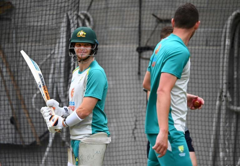 Australia's Steve Smith faces Josh Hazlewood during practice at the Melbourne Cricket Ground nets on December 24