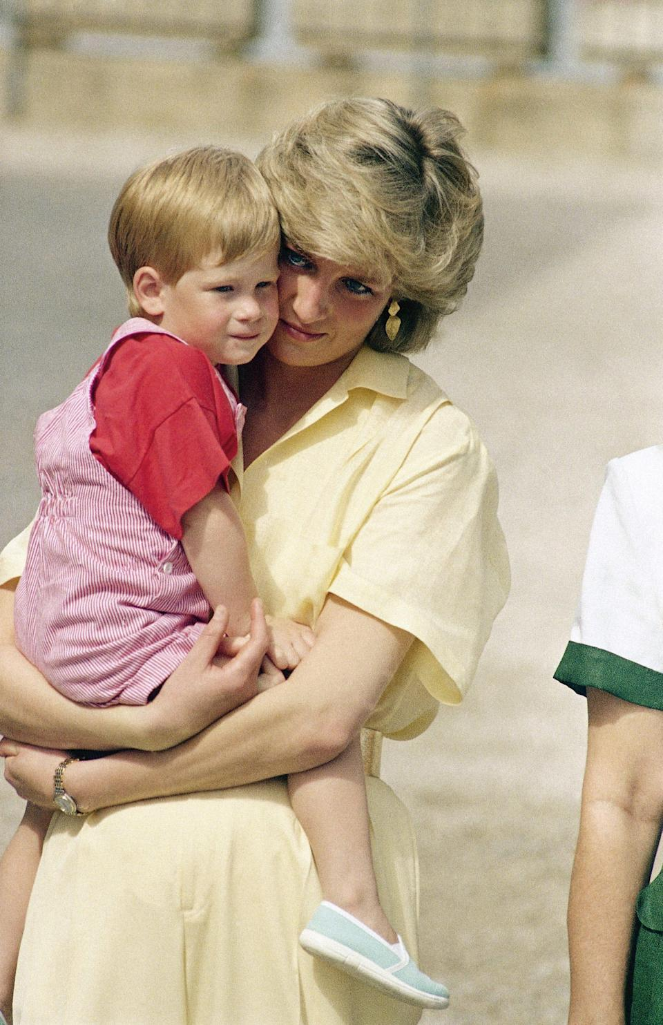 Princess Diana holds Harry in this photo just before his third birthday in 1987.