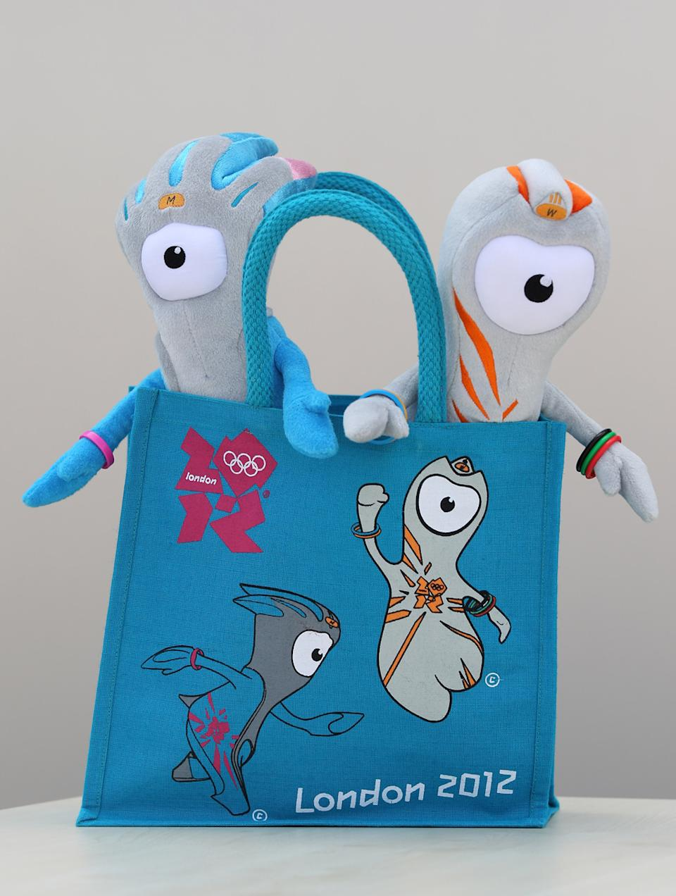 Wenlock (R) and Mandeville (L), soft toy mascots for the London 2012 Olympic Games go on display at the launch of the London Olympic Games official merchandise on July 30, 2010 in London, England. (Photo by Oli Scarff/Getty Images)