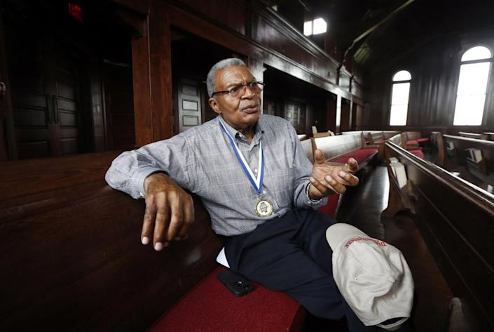 In this June 25, 2016, file photo, the Rev. Wendell H. Paris sits in Woodworth Chapel on the campus of Tougaloo College, in Jackson, Miss. (AP Photo/Rogelio V. Solis, File)
