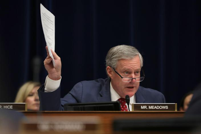 Rep. Mark Meadows (R-NC) questions Michael Cohen, former attorney and fixer for President Donald Trump as he testifies before the House Oversight Committee on Capitol Hill February 27, 2019 in Washington, DC. (Photo by Chip Somodevilla/Getty Images)