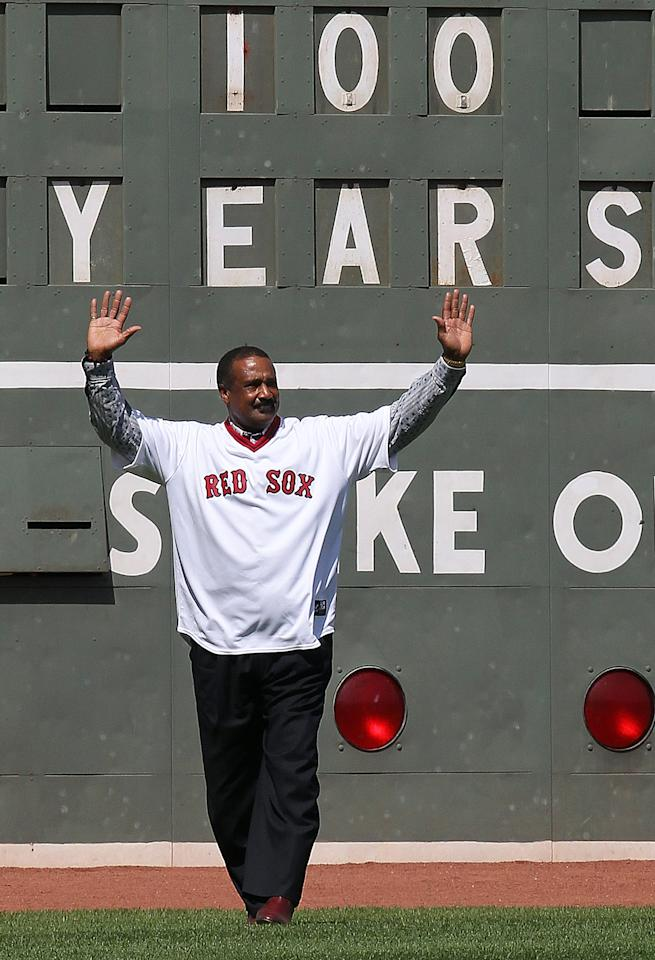 BOSTON, MA - APRIL 20:  Former Boston Red Sox player Jim Rice enters the field during 100 Years of Fenway Park activities  before a game between the Boston Red Sox and the New York Yankees at Fenway Park April 20, 2012  in Boston, Massachusetts. (Photo by Jim Rogash/Getty Images)