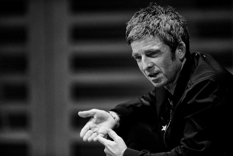 """LONDON, ENGLAND - OCTOBER 23: (EDITORS NOTE: Image has been converted to black and white.) Noel Gallagher on stage during the launch of his new book """"Any Road Will Get Us There (If We Don't Know Where We're Going)"""" at Kings Place on October 23, 2018 in London, England. (Photo by Dave J Hogan/Dave J Hogan/Getty Images)"""
