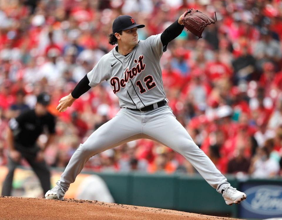 Detroit Tigers starting pitcher Casey Mize (12) throws a pitch against the Cincinnati Reds during the first inning at Great American Ball Park on Sunday, Sept. 5, 2021.