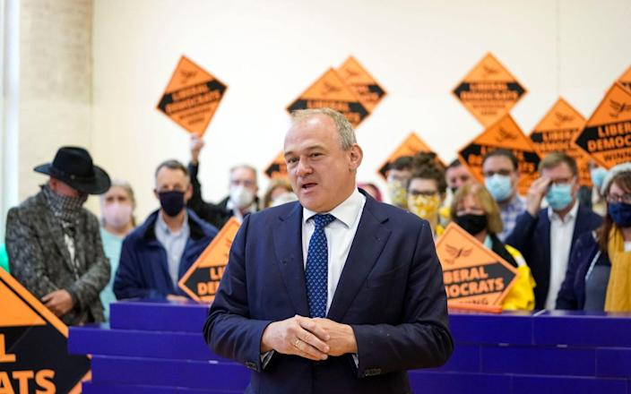 Liberal Democrat leader Ed Davey during a victory rally at Chesham Youth Centre in Buckinghamshire, after Sarah Green won the Chesham and Amersham by-election - Steve Parsons/PA Wire