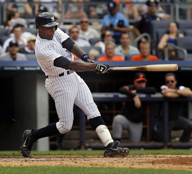 New York Yankees' Alfonso Soriano hits an RBI single during the third inning of the baseball game against the Baltimore Orioles at Yankee Stadium Sunday, Sept. 1, 2013 in New York. (AP Photo/Seth Wenig)