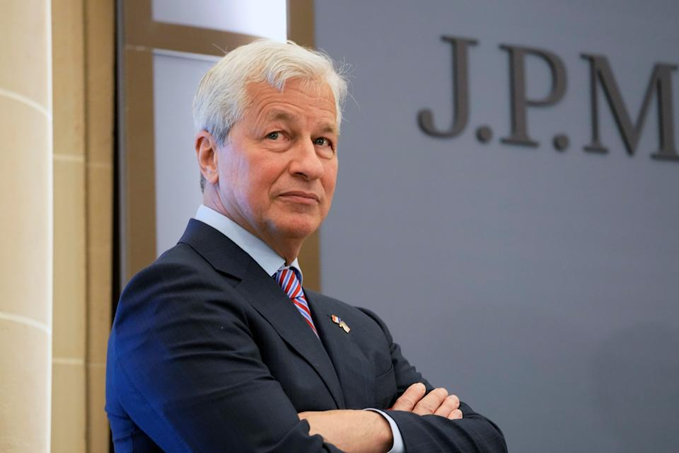 JP Morgan CEO Jamie Dimon looks on during the inauguration the new French headquarters of JP Morgan bank in Paris, France June 29, 2021.  Michel Euler/Pool via REUTERS