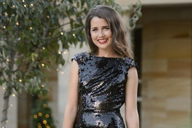 The Bachelor Australia 2015 contestant Heather Maltman wearing a black sequin gown