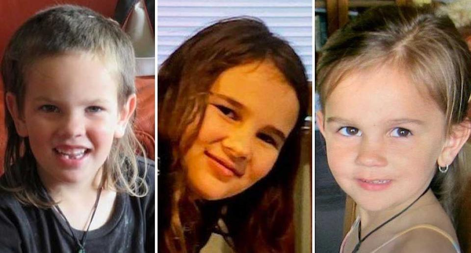Siblings six-year-old Maverick, eight-year-old Jayda and five-year-old Ember Phillips are pictured.