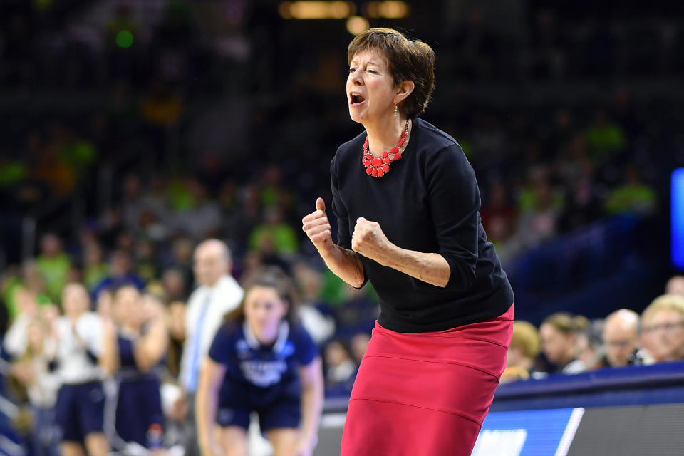 Notre Dame coach Muffet McGraw wants women to be able to be as competitive and driven as men are, both on the court and off. (Photo by Quinn Harris/Icon Sportswire via Getty Images)