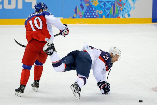 USA forward Ryan Callahan looses his footing under pressure from Czech Republic forward Roman Cervenka during the first period of men's quarterfinal hockey game in Shayba Arena at the 2014 Winter Olympics, Wednesday, Feb. 19, 2014, in Sochi, Russia. (AP Photo/Matt Slocum)