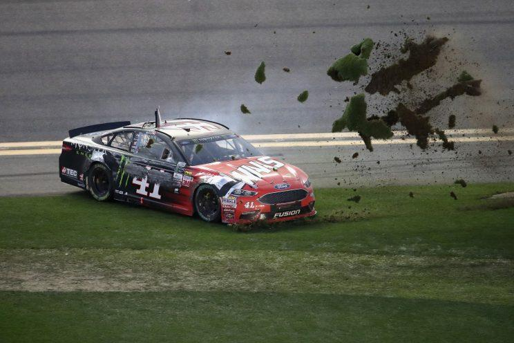 Kurt Busch celebrates winning the Daytona 500 with a burnout in the infield grass. (Getty Images)