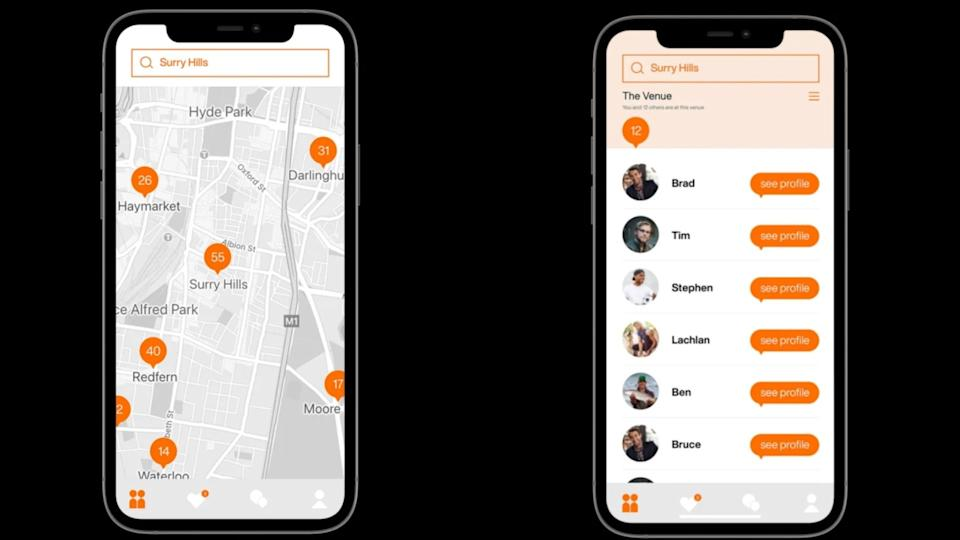 Images of two phones with map of Surry Hills, matches on dating app Ziinkle.