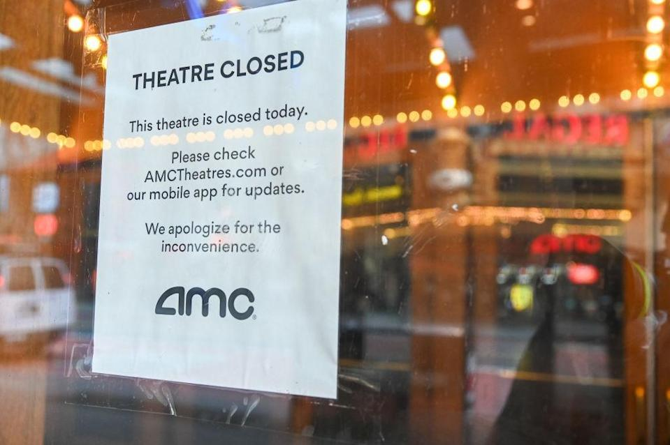 NEW YORK, NY - MARCH 26: The AMC Theater in Times Square is closed due to the spread of the coronavirus on March 26, 2020 in New York City. Across the country schools, businesses and places of work have either been shut down or are restricting hours of operation as health officials try to slow the spread of COVID-19. (Photo by Ben Gabbe/Getty Images)