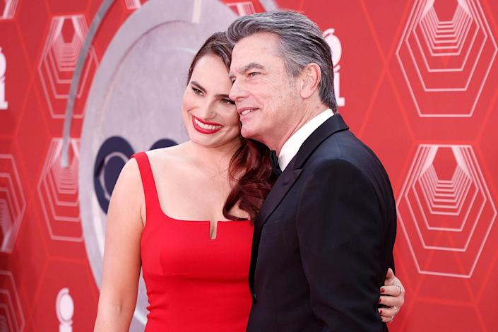 <p>Tony nominee Kathryn Gallagher brings her dad, actor Peter Gallagher to the Tony Awards. </p>