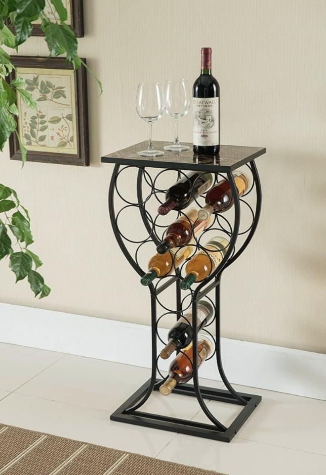 <p>Display your little collection with this two-in-one <span>Kings Brand Furniture Metal Wine Rack</span> ($66).</p>