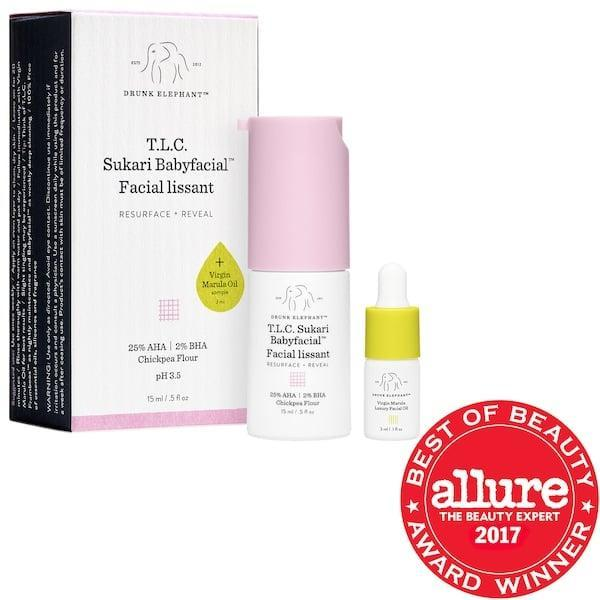 <p>The <span>Drunk Elephant T.L.C. Sukari Babyfacial™ AHA + BHA Mask Mini</span> ($28) will keep your skin smooth and glowing.</p>