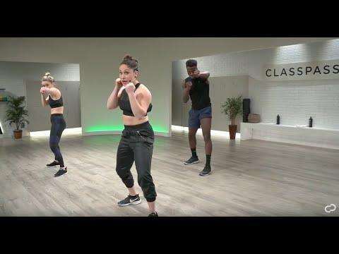"""<ul><li><strong>Equipment: </strong>None</li></ul><p>A mix of cardio and strength, Class Pass' home boxing workout will boost your cardio endurance as well as building lean muscle in your upper and lower body as well as your core. </p><p><a href=""""https://www.youtube.com/watch?v=LmczabJ0kwA&ab_channel=ClassPass"""" rel=""""nofollow noopener"""" target=""""_blank"""" data-ylk=""""slk:See the original post on Youtube"""" class=""""link rapid-noclick-resp"""">See the original post on Youtube</a></p>"""