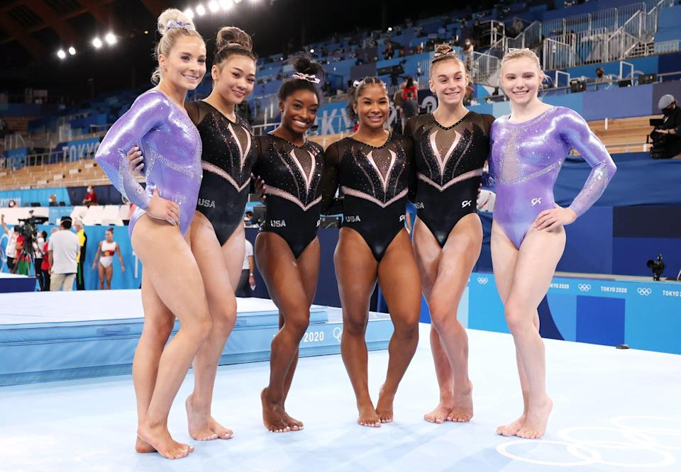 TOKYO, JAPAN - JULY 22: (L-R) MyKayla Skinner, Sunisa Lee, Simone Biles, Jordan Chiles, Grace McCallum and Jade Carey of Team United States pose for a picture during Women's Podium Training ahead of the Tokyo 2020 Olympic Games at Ariake Gymnastics Centre on July 22, 2021 in Tokyo, Japan. (Photo by Jamie Squire/Getty Images)