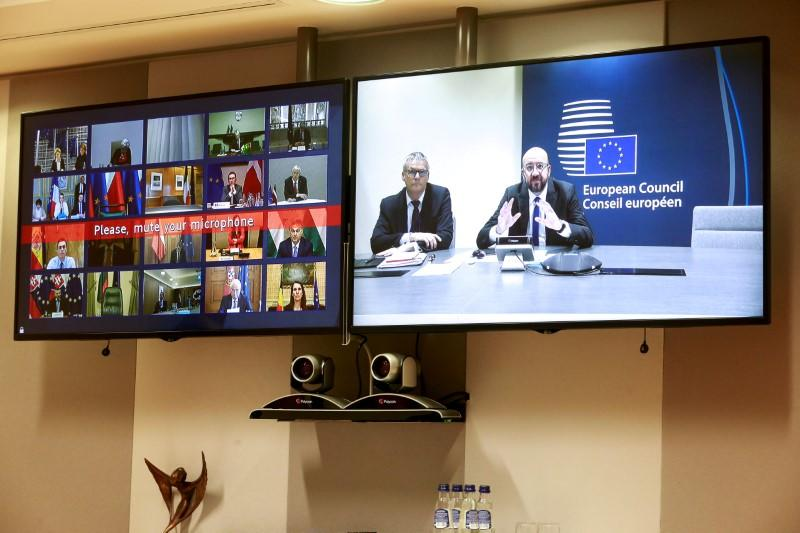 FILE PHOTO: Conference call of EU leaders on Coronavirus