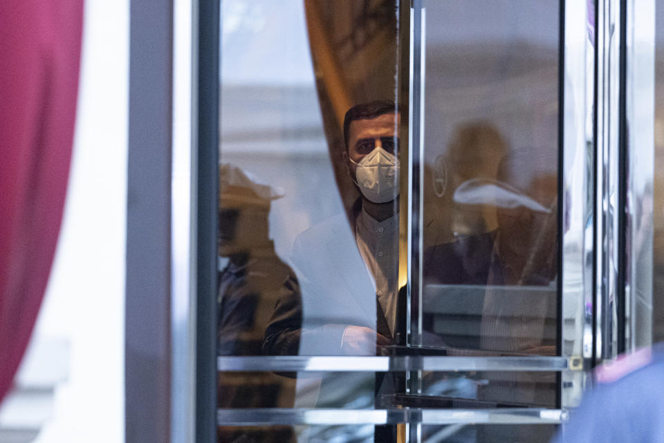 Iran's Governor to the International Atomic Energy Agency (IAEA), Kazem Gharib Abadi, leaves the 'Grand Hotel Vienna' where where closed-door nuclear talks take place in Vienna, Austria, Saturday, June 12, 2021. (AP Photo/Florian Schroetter)