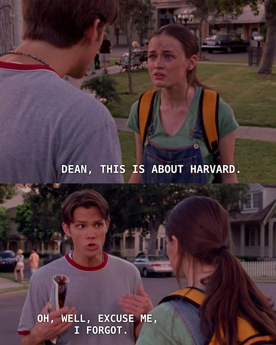 Dean mocks Rory about Harvard