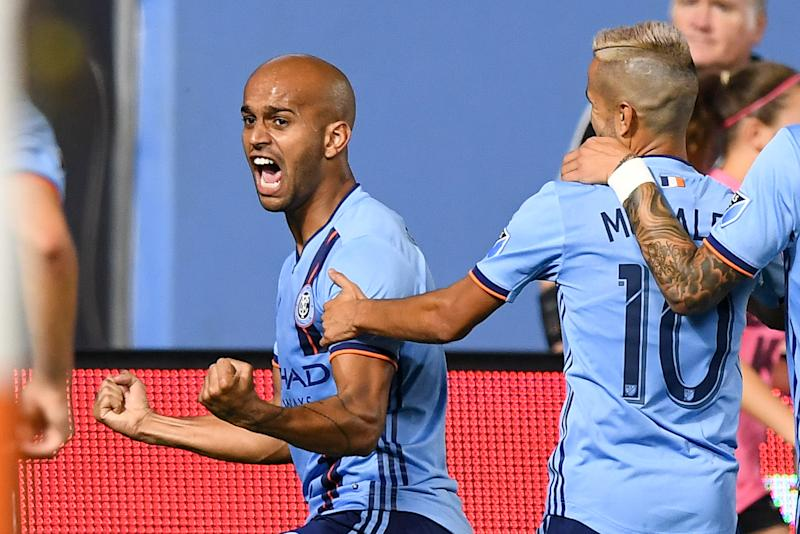 Aug 24, 2019; New York, NY, USA; New York City FC forward Heber (9) celebrates after scoring a goal against the New York Red Bulls during the second half at Yankee Stadium. Mandatory Credit: Dennis Schneidler-USA TODAY Sports