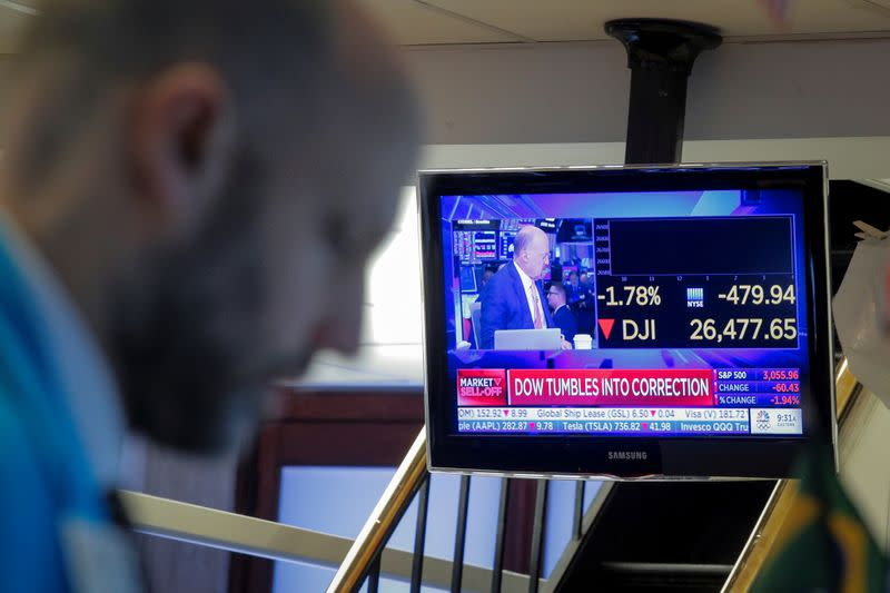 Dow suffers record decline in points as Wall Street leads global stocks lower