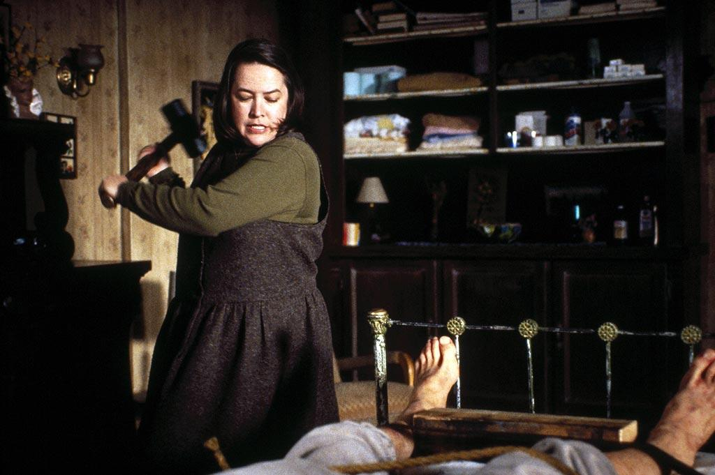 """<a href=""""http://movies.yahoo.com/movie/contributor/1800024073"""">Kathy Bates</a>, """"<a href=""""http://movies.yahoo.com/movie/1800152650/info"""">Misery</a>""""<br><br>Fueled by her obsession with Paul Sheldon's work, self-proclaimed no. 1 fan Annie Wilkes wreaks havoc on the incapacitated author and demands a rewrite when she disagrees with the creative direction of his new novel. Unfortunately, Paul doesn't realize that his caretaker, a former nurse, is skilled with both sponge baths and sledgehammers."""