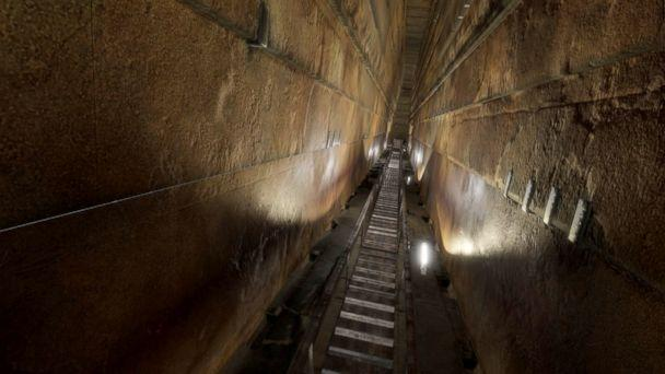 PHOTO: An undated handout photo shows the Grand Gallery passage inside the Great Pyramid of Giza, Egypt. (Scan Pyramids Mission/EPA)