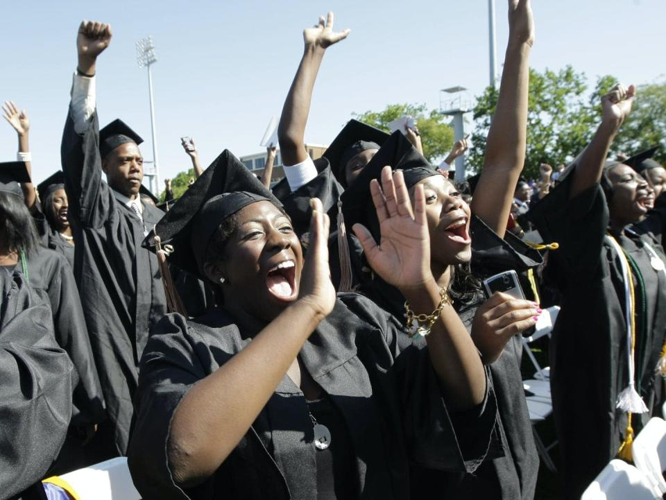 """<span class=""""caption"""">Students at Hampton University celebrate at graduation on May 9. 2010. Studies suggest, however, that the benefits African American students accrue from education will be fewer than those of whites.</span> <span class=""""attribution""""><a class=""""link rapid-noclick-resp"""" href=""""http://www.apimages.com/metadata/Index/Obama/bdfcc620c7644d67ba4f6a8eeca60dcc/44/0"""" rel=""""nofollow noopener"""" target=""""_blank"""" data-ylk=""""slk:J. Scott Applewhite/AP"""">J. Scott Applewhite/AP</a></span>"""