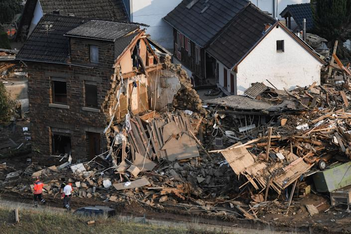 A demolished house is pictured in Altenburg, Rhineland-Palatinate, western Germany, on July 19, 2021, after devastating floods hit the region. - The German government on July 19, 2021 pledged to improve the country's under-fire warning systems as emergency services continued to search for victims of the worst flooding in living memory, with at least 165 people confirmed dead. (Photo by Christof STACHE / AFP) (Photo by CHRISTOF STACHE/AFP via Getty Images)