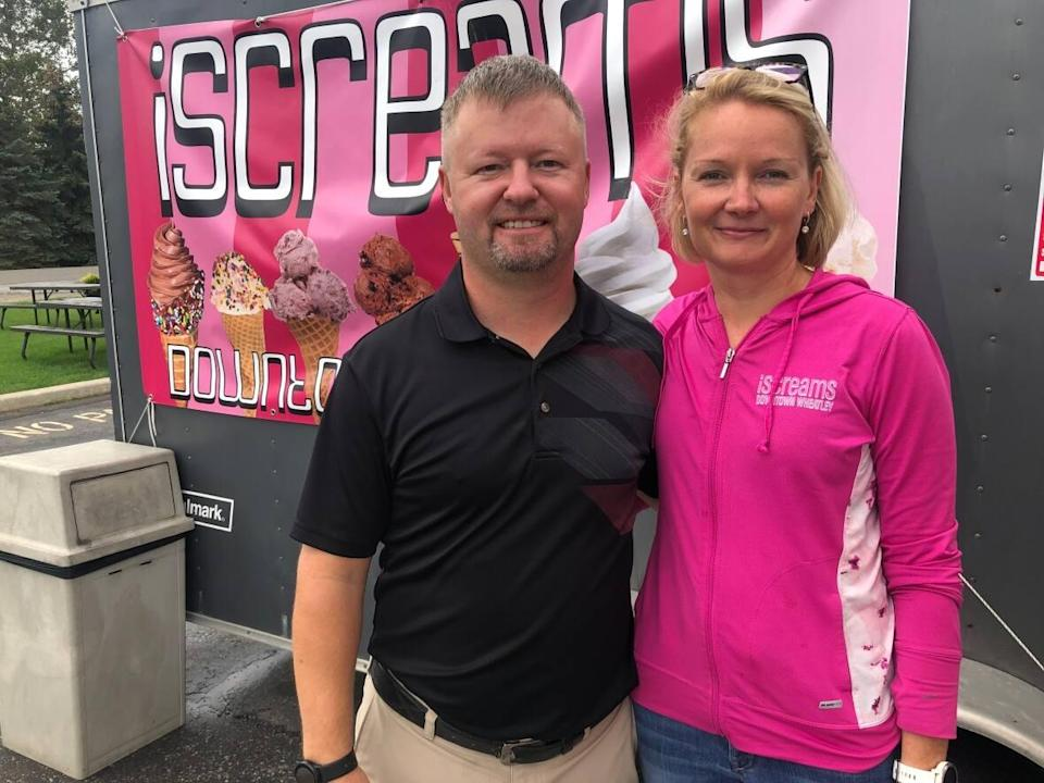 Helen and Ben Neufeld own iScreams ice cream shop, which is currently operating out of a trailer at Taylor Fish Company. (Jacob Barker/CBC - image credit)