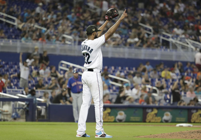 Miami Marlins starting pitcher Sandy Alcantara reacts after getting the final out in the ninth inning of a baseball game against the New York Mets, Sunday, May 19, 2019, in Miami. Alcantara pitched a complete game as the Marlins won 3-0. (AP Photo/Lynne Sladky)