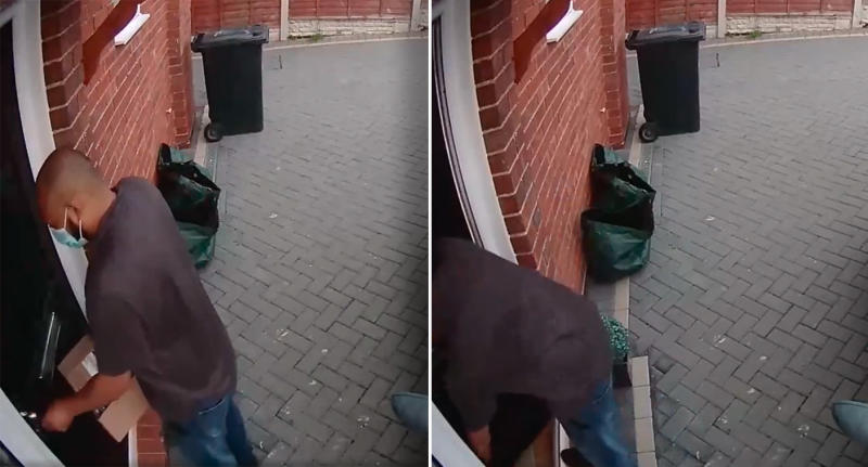 An Amazon delivery driver in the UK is seen on camera opening the door to a customer's house and leaving the package inside without knocking.