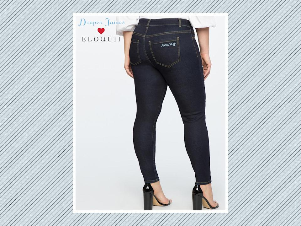 "<p>Draper James for Eloquii denim with ""howdy"" embroidery, $99, <a href=""http://www.eloquii.com/draper-james-for-eloquii-denim-with-howdy-embroidery/1106059.html?cgid=draper-james&start=18&dwvar_1106059_colorCode=19"" rel=""nofollow noopener"" target=""_blank"" data-ylk=""slk:Eloquii"" class=""link rapid-noclick-resp"">Eloquii</a> (Photo: Eloquii) </p>"