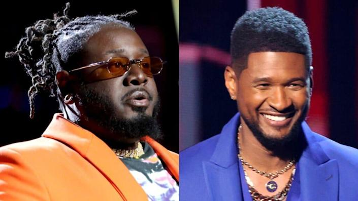 """In a brief snippet from the upcoming Netflix series, """"This Is Pop,"""" rapper T-Pain (left) said he fell into a deep depression after singer Usher (right) told him he had """"f–ked up music."""" (Photos by Rich Fury/Getty Images for iHeartMedia and Kevin Winter/Getty Images for iHeartMedia)"""