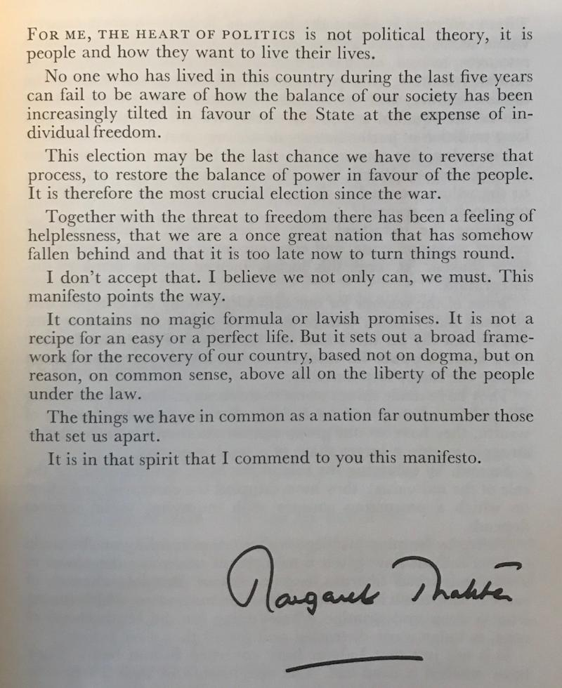 Margaret Thatcher's foreword to the 1979 manifesto