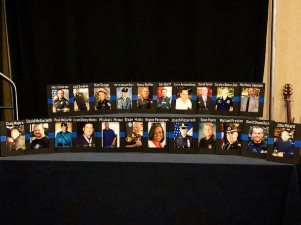 PHOTO: Photos of officers who've taken their lives sit on a table at the 2019 Blue H.E.L.P dinner. (Courtesy Karen Solomon)