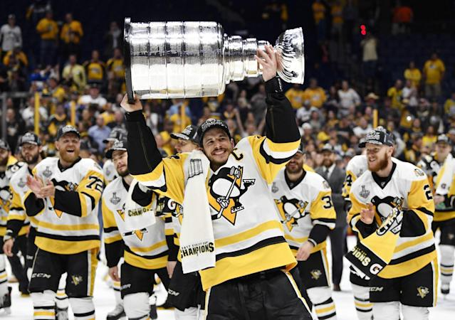 <p>Pittsburgh Penguins center Sidney Crosby (87) hoists the Stanley Cup after defeating the Nashville Predators in Game 6 of the 2017 Stanley Cup Final at Bridgestone Arena. Credit: Christopher Hanewinckel-USA TODAY Sports </p>
