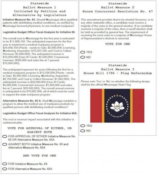 PHOTO: Page 3 of the ballot after the Mississippi Legislature voted in June to add 'Statewide Ballot Measure 2: House Concurrent Resolution No. 47' to the November ballot. (State of Mississippi)