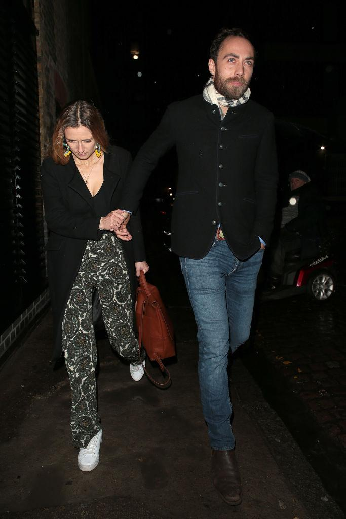 Alizee Thevenetï and James Middleton seen attending Princess Beatrice's engagement party at Chiltern Firehouse on 18 December 2019 in London.