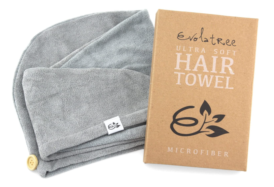 With a wooden button to secure your hair in place, Evolatree's Microfibre Towel makes multi-tasking easy.