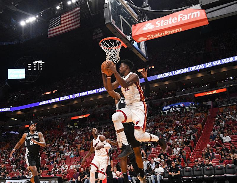 Jimmy Butler #22 of the Miami Heat in action against the San Antonio Spurs during the second half of the preseason game at American Airlines Arena. (Photo by Mark Brown/Getty Images)