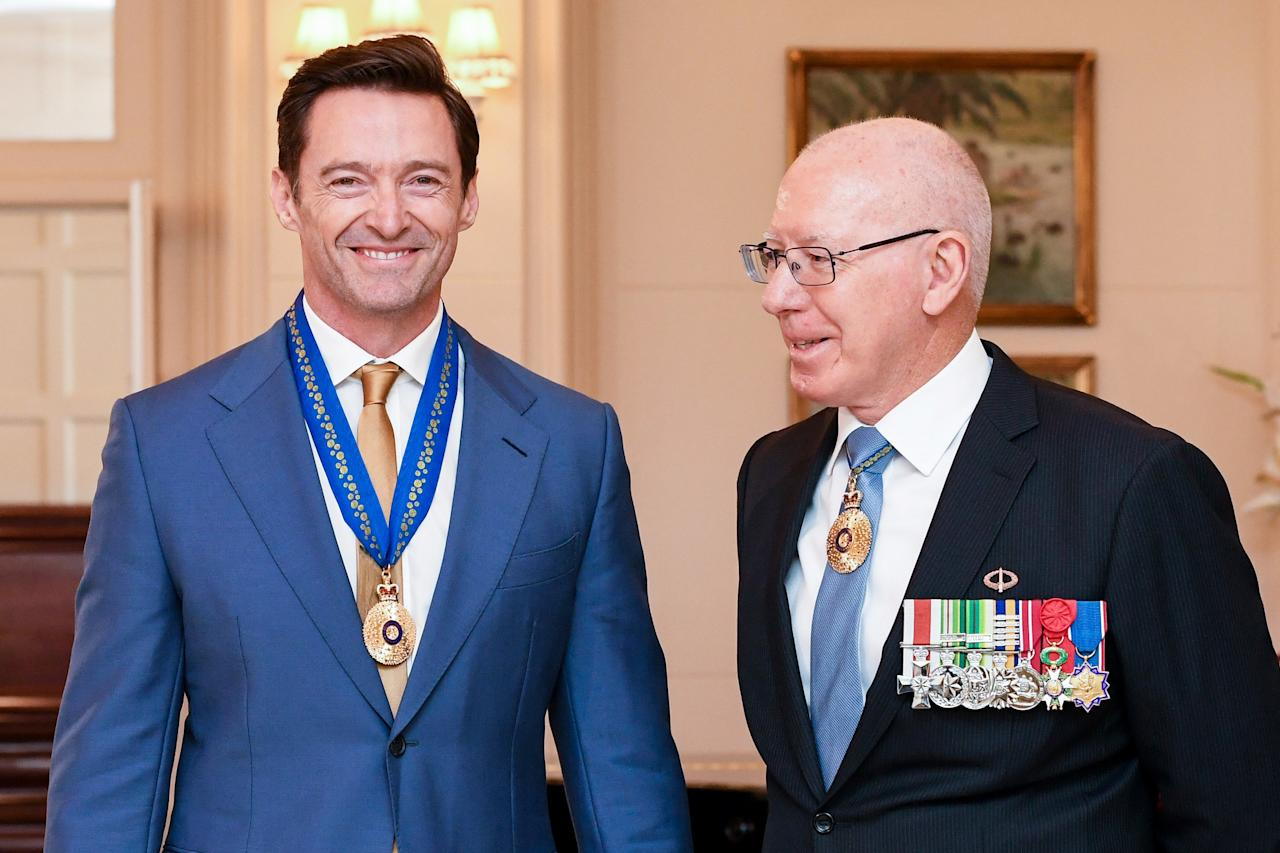 Hugh Jackman is awarded an Order of Australia by The Governor-General of Australia David Hurley at Government House in Melbourne, Australia, on Friday.