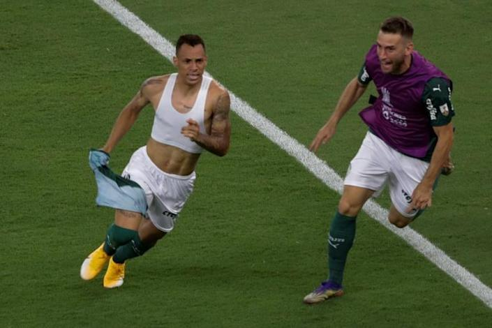 Breno Lopes (L) came off the bench to head a dramatic late winner for Palmeiras against local rivals Santos in the Copa Libertadores final
